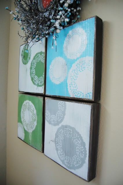 doily wall art using spray paint and paper doilies for the home. Black Bedroom Furniture Sets. Home Design Ideas