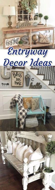 Entryway decor ideas for a small foyer or apartment entryway. Entryway benches, DIY entryway ideas, rustic, farmhouse entryway and foyer decorating pictures. #foyerdecoratingbench #foyerdecoratingfarmhouse #foyerdecoratingentryway