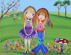 Just Friends from my whimsical girls artworks by Peta E. More info about me at my website www.petae.com.au