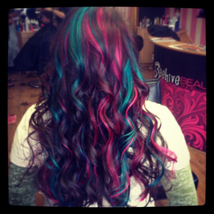 Pink, teal, hair color,