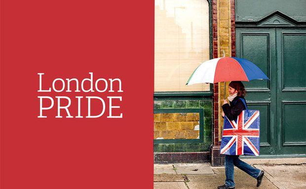 O pub Green Man, o guarda-chuva, a Union Jack, uma cena londrina