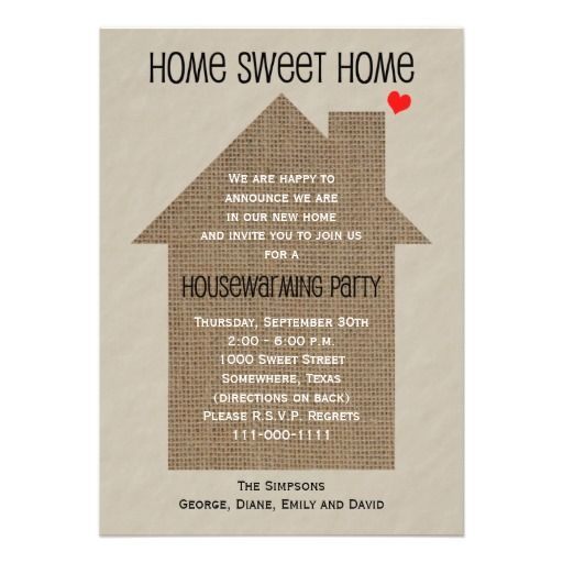 Housewarming Party Invitation Burlap House Word