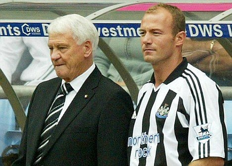 Sir Bobby Robson and Alan Shearer (Newcastle United FC, 1996–2006, 303 apps, 148 goals)