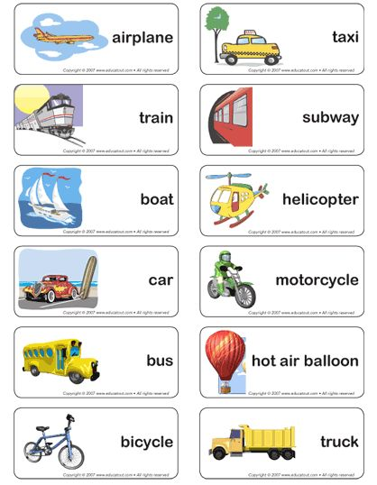 transportation word cards free - Google Search