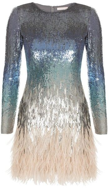 MATTHEW WILLIAMSON Ombre Sequin + Feather Dress