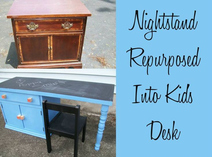 Nightstand Repurposed into Kids Desk