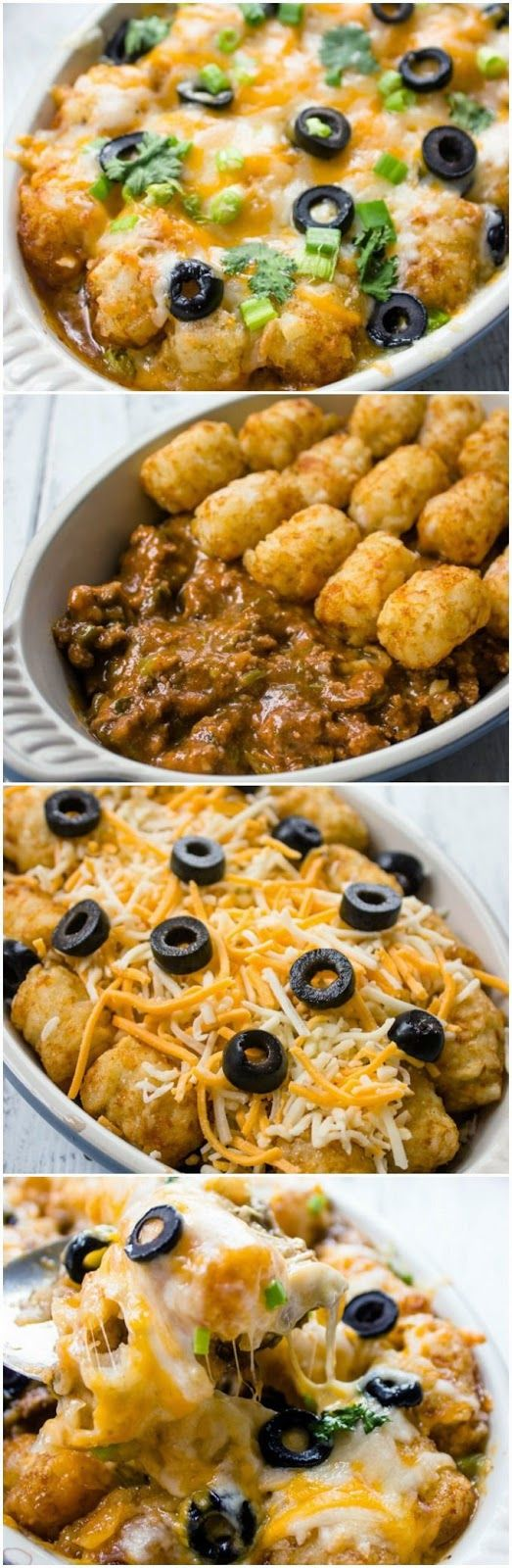 Tater Tot Enchilada Bake-would use soyrizo or veggie crumbles instead of ground beef