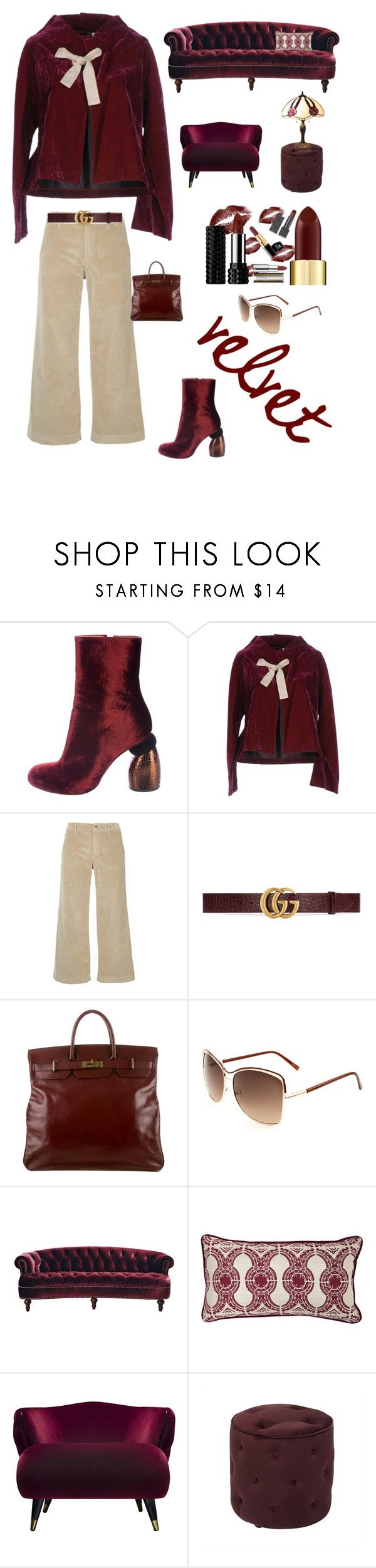 """""""Velvet trend"""" by kotnourka ❤ liked on Polyvore featuring Dries Van Noten, Comme des Garçons, The Seafarer, Gucci, Hermès, Jennifer Taylor, Villa Home Collection, AveSix and Serena d'Italia"""