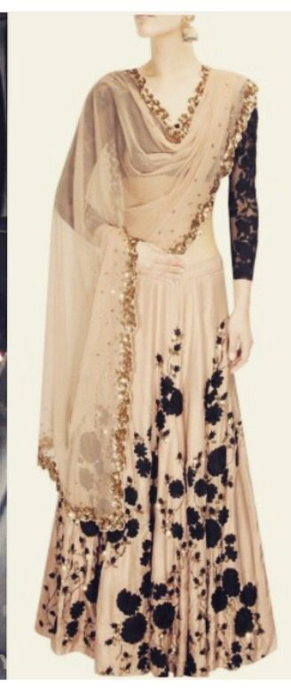 Blush and black Lehnga