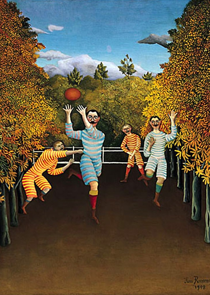Henri Rousseau - Football Players  Rousseau was a French Post-Impressionist painter in the Naive or Primitive manner.He was also known as Le Douanier (the customs officer), a humorous description of his occupation as a tax collector.Ridiculed during his life, he came to be recognized as a self-taught genius whose works are of high artistic quality.