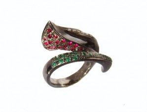 Black Lily Ring red ruby and green emerald pave set stones, Flower Ring, Perfect  Present.