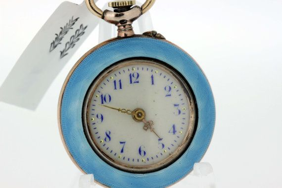 Guilloche Ladies Silver Pocket Watch with by timekeepersinclayton