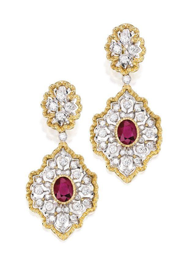 Buccellati 18-karat Gold, Tanzanite And Ruby Earrings