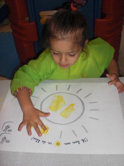 Vingerverven - Het zonnetje van de klas!
