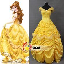 Dos desenhos animados princesa belle beauty and the beast trajes cosplay adulto princesa belle traje vestido amarelo(China (Mainland))