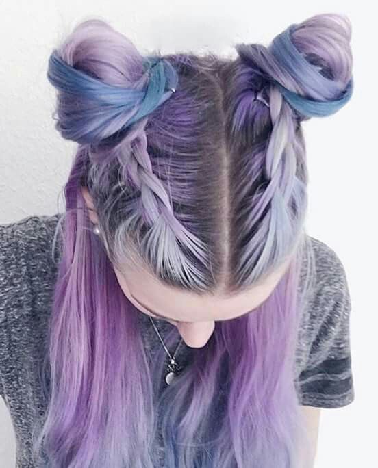 Pastel purple and blue hair w/natural brown roots