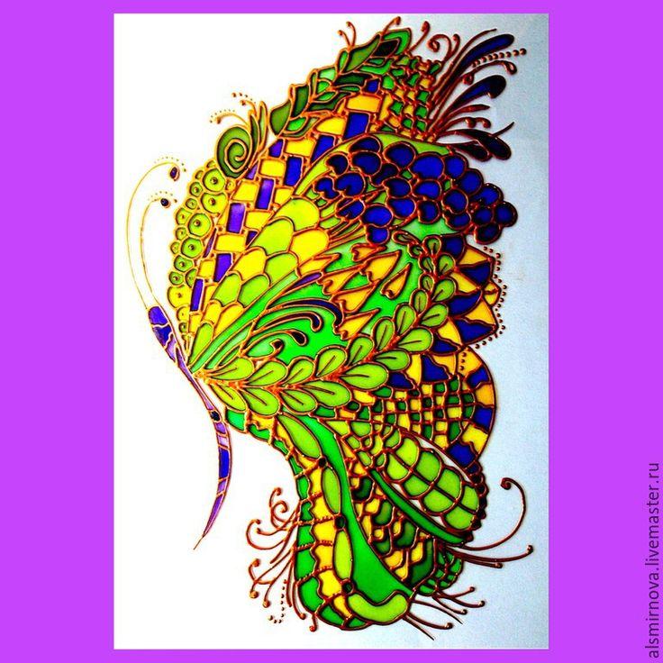 """Купить картина в технике """"витражная роспись"""" - Бабочка. - ярко-зелёный, картина лето, картина бабочка"""