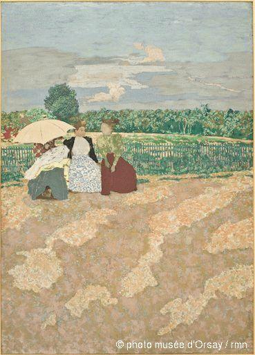 Edouard Vuillard  Jardins publics : la conversation, les nourrices, l'ombrelle rouge  en 1894  peinture à la colle sur toile  H. 2.135 ; L. 1.54  musée d'Orsay, Paris, France  ©photo musée d'Orsay / rmn