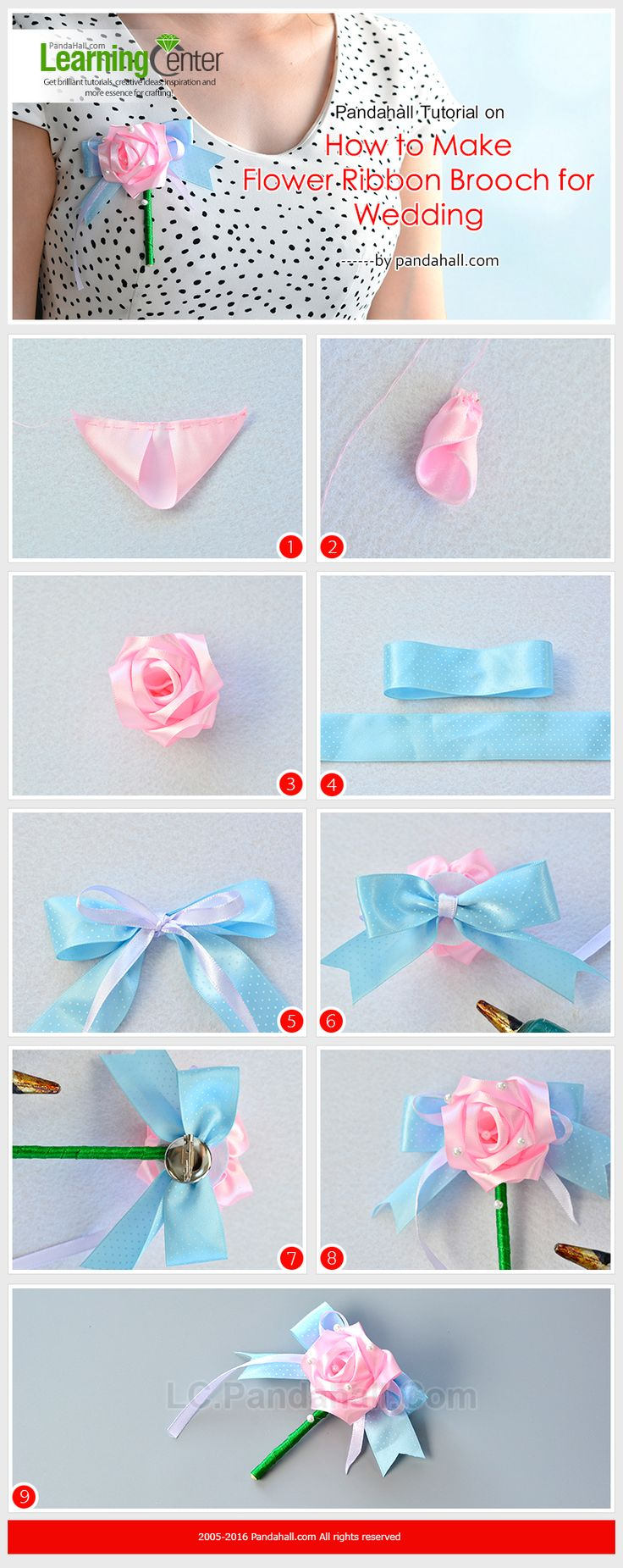Pandahall Tutorial on How to Make Flower Ribbon Brooch for Wedding from LC.Pandahall.com