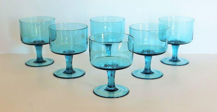 6 Fantastic Blue Glass Champagne Glasses C1970's Slovak Glassware