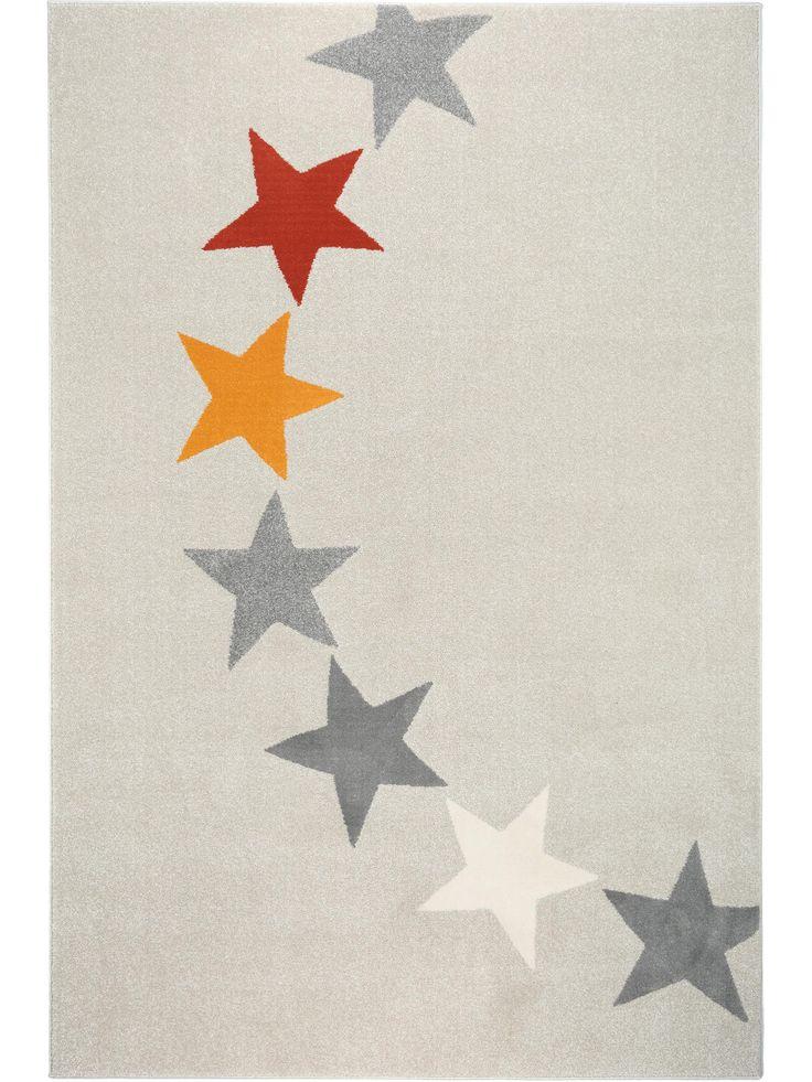 Hier tanzt keiner aus der Reihe: Hübsche Sterne in verschiedenen Tönen dekorieren den benuta Teppich Avalon Stars