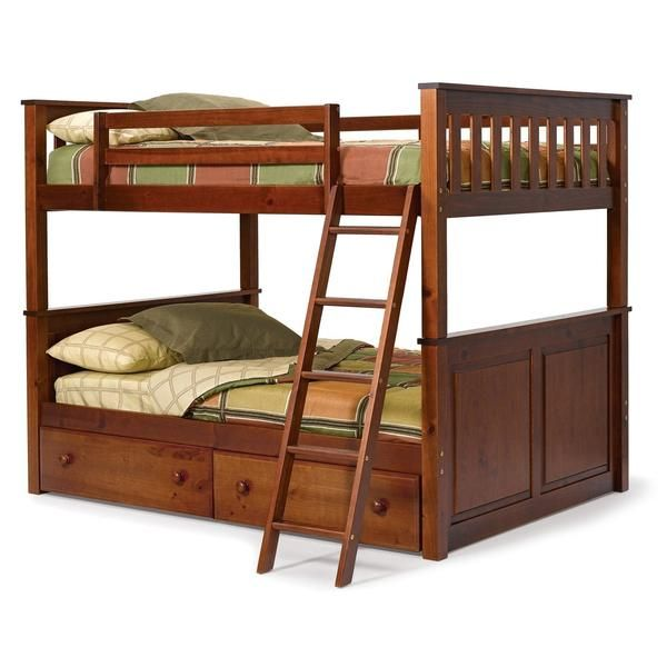 The beauty of this Full over Full size Bunk Bed in Solid Hardwood with Chocolate Brown Finish? It has plenty of room for your kids to spread out with two spacio