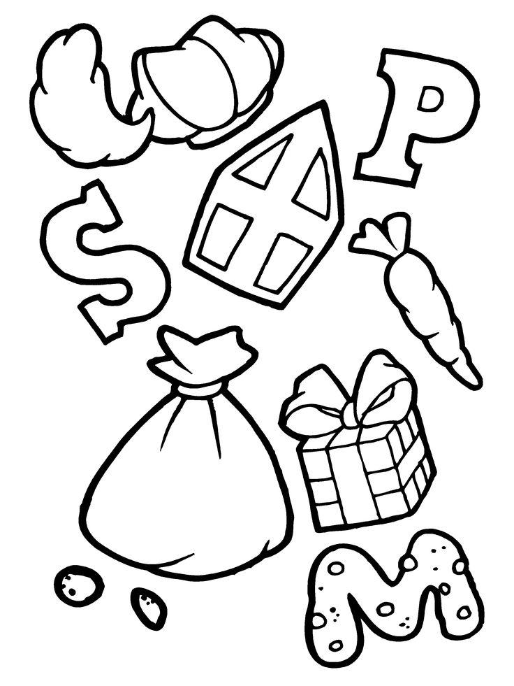 letter & snoepjes & cadeautjes van sinterklaas kleurplaat