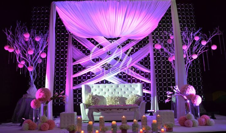 Reception: Gorgeous lounge area for Bride lighting & drapings