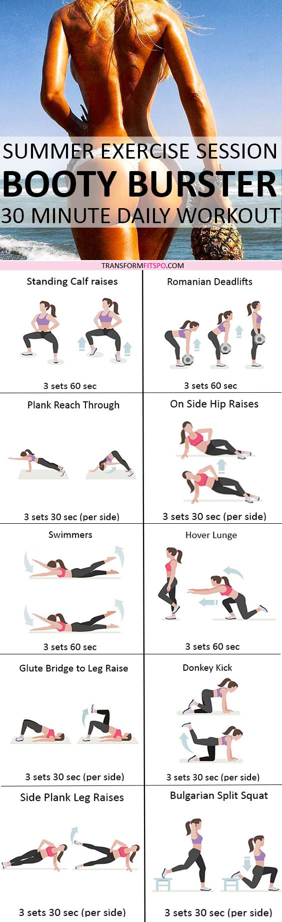 Repin and share if this workout was amazing for growing your bum! Read the post for all the workout descriptions.