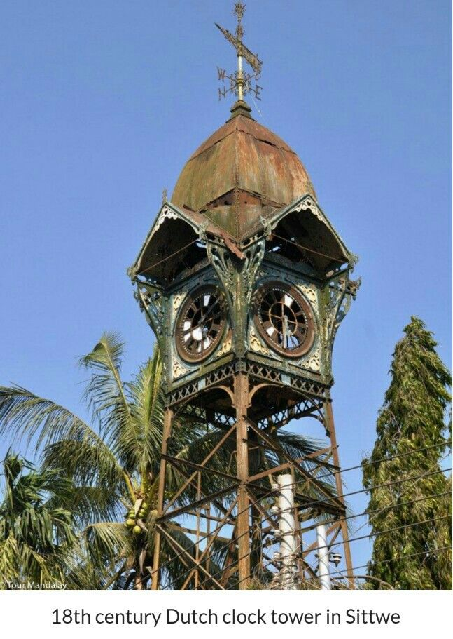 18th. Centuru dutch clock tower , Sittwe , Myanmar . .