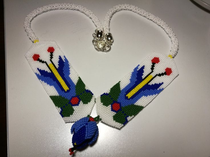 Necklace tulip kashubian embroidery by Manufaktura Leo