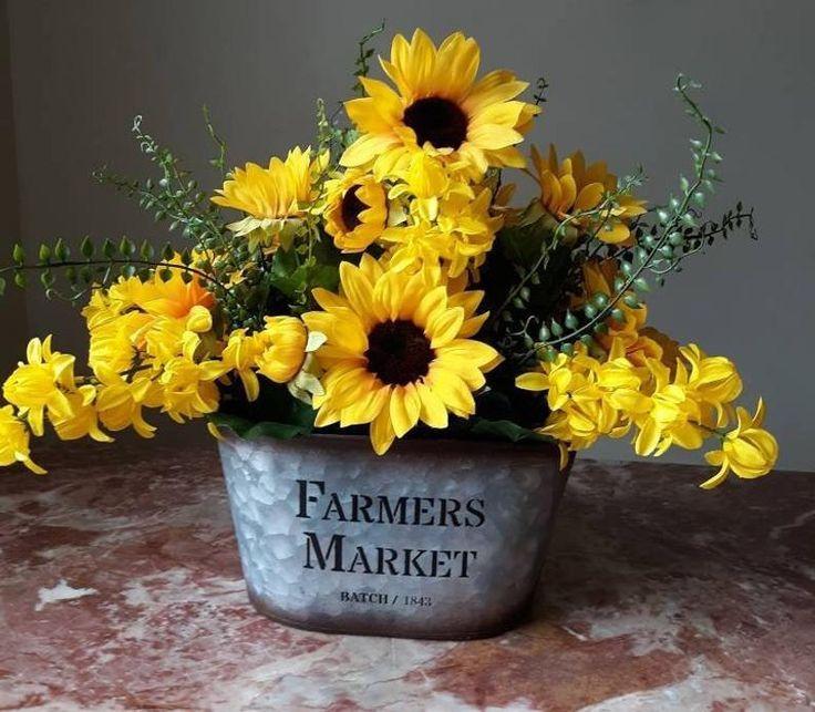 Farmhouse Arrangement, Sunflower Arrangement, Summer Farmhouse Floral, Sunflower Centerpiece, Rustic Farmhouse Arrangement, Sunflower Decor