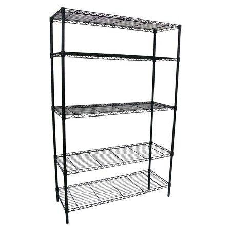Adjustable 5 Tier Wire Wide Shelving Unit   Black   Room Essentials™