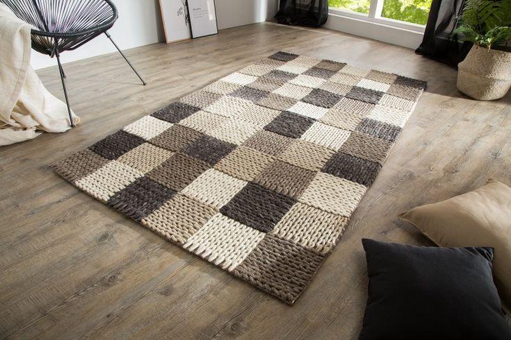 Luxusný koberec čierno šedý YARN PATCHWORK.