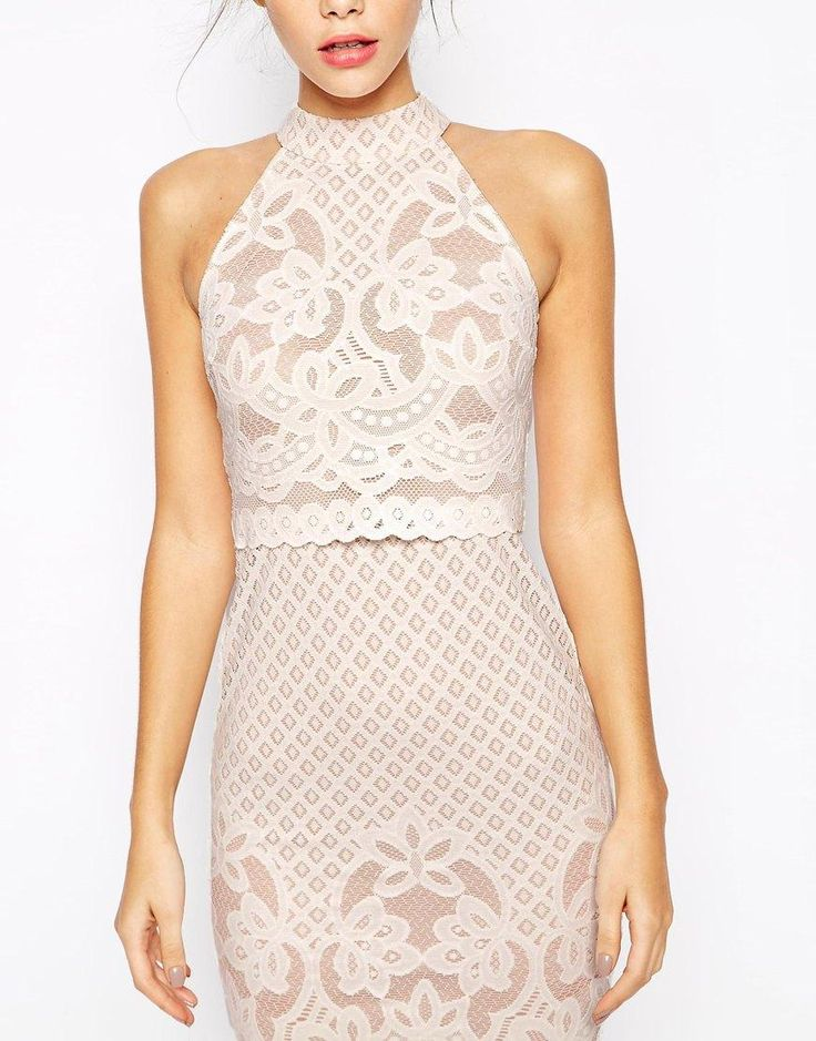 ASOS Petite | ASOS PETITE Bodycon Dress In Lace With High Neck at ASOS