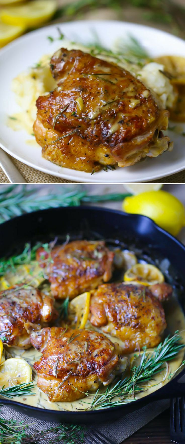 Garlic, herbs, cream, lemon juice and white wine make for a super creamy, DELICIOUS sauce for these easy oven roasted chicken thighs.