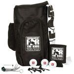 """Deluxe Shoe Bag Kit W/ Titleist Dt Solo Golf  600D PVC zippered shoe bag with 2 additional storage compartments. Includes 15""""x18"""" golf towel with grommet & hook, ten 2 3/4"""" tall tees, 7-in-1 all purpose golf tool, foam can holder, and 3 golf balls. Price includes a one or two color, one pole imprint on golf balls, and your logo printed in one ink color on towel, tees, knife, can holder and deluxe shoe bag. http://www.imprintgolf.com/golf_shoe_bags.htm"""