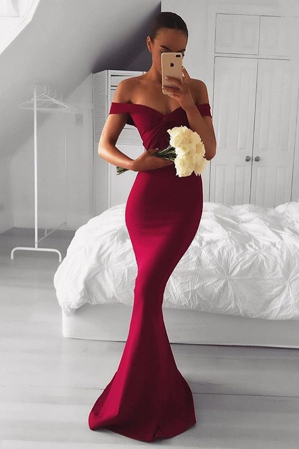 d8b0c22287b Elegant Off the shoulder Wine Red Long Bridesmaid Dress in 2019 ...