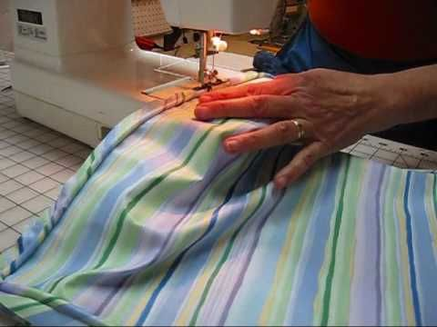 Great UTube on Cutting on the bias/piping, seat cushions  (7) Little Striped Cushion -Sewing On Piping