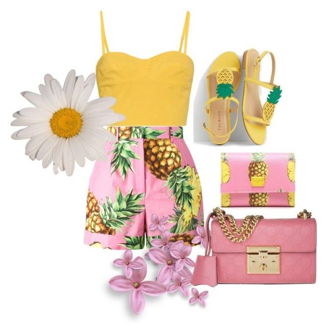 """""""pineapple summer trend"""" by chloeathome on Polyvore featuring Tomas Maier, Dolce&Gabbana, Talbots and Gucci"""
