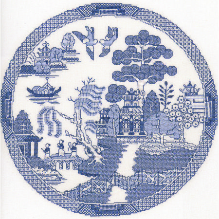 If you're looking for a piece that sets itself apart from every other design on display, this Willow Pattern chart is based on the classic Spode blue dinner plates.