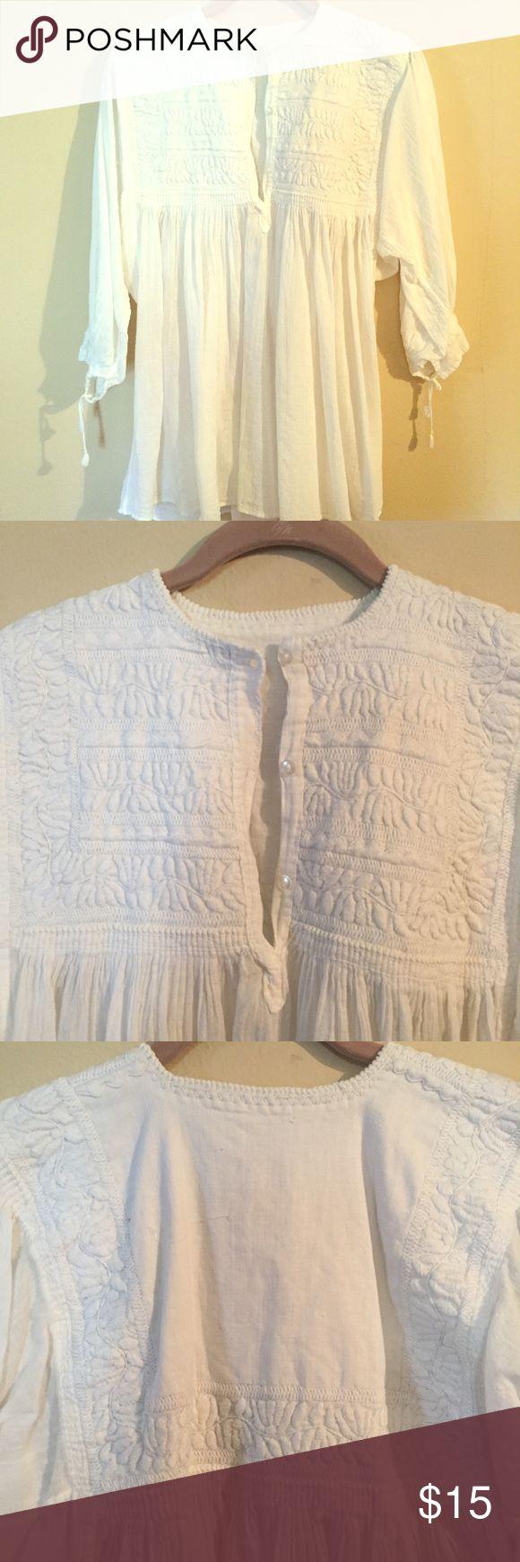 White apron latham - White Mexican Top Blouse
