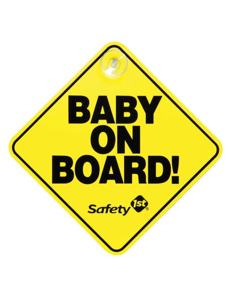 This original 'Baby on Board' sign has a bright yellow background that is easily visible to drivers, and alerts them to use extra caution when driving near you.