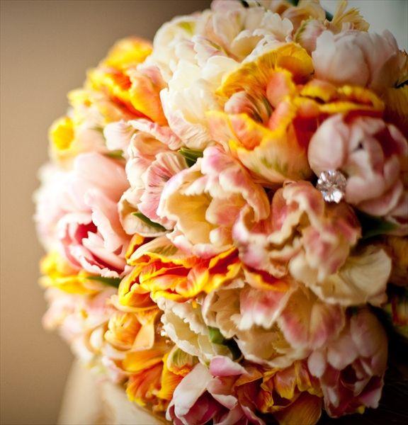 The Floral Department - San Diego -wedding flowers- Parrot tulips-  bridal bouquet