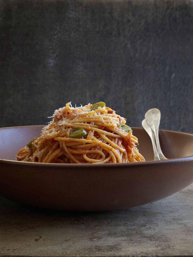 Spaghetti all' Amatriciana with Pickled Jalapeños | Simple Feast