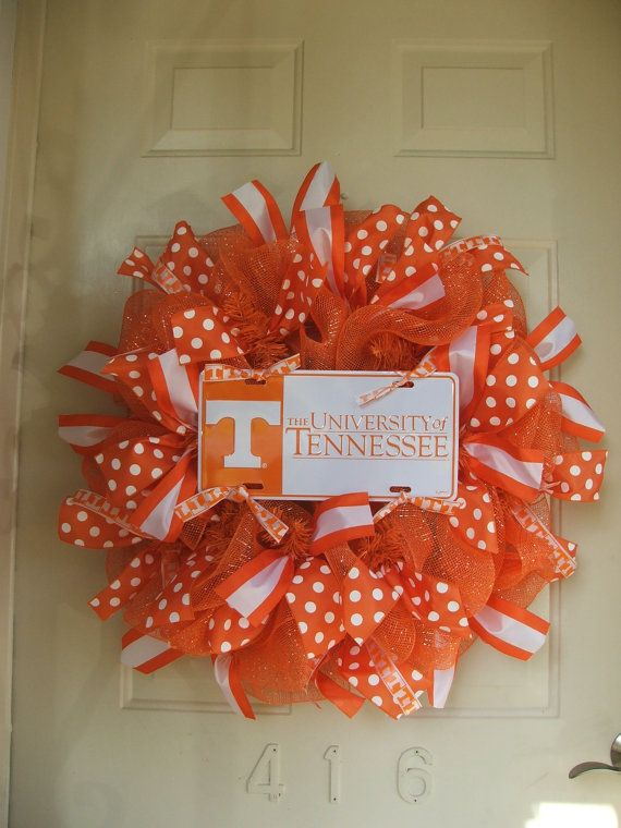 University of Tennessee UT Vols Deco Mesh Wreath with Striped & Orange Polka Dot Ribbon by TowerDoorDecor, $60.00