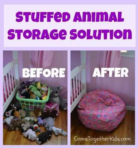 Fill a bean bag cover with stuffed animals. Brilliant. And much better than those annoying beads that go everywhere!