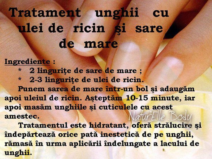 Tratament unghii cu ulei de ricin şi sare de mare