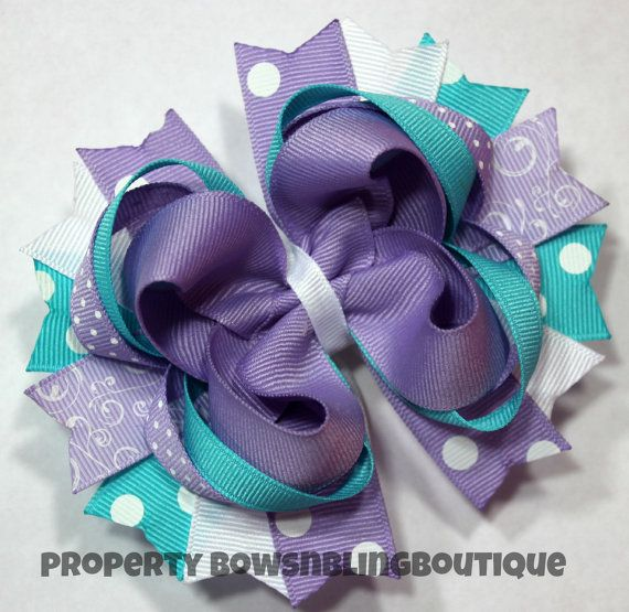 Lavender and Turquoise Hair Bow Cute Hairbow by BowsNBlingBoutique, $9.99