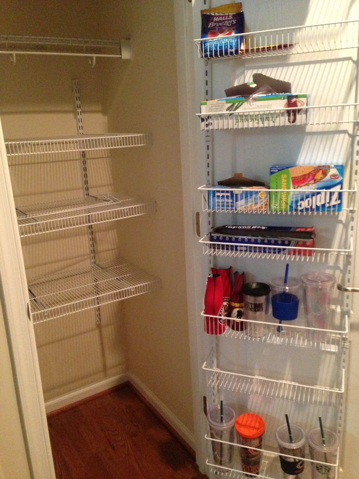Transformed Small Coat Closet To Have A Pantry. Much Needed!